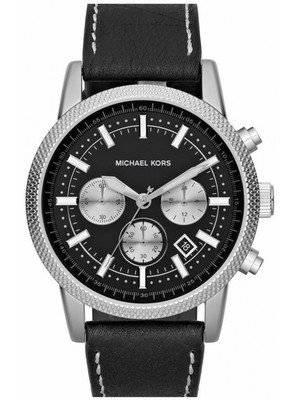 Michael Kors Chronograph Black Dial Black Leather MK8310 Men's Watch