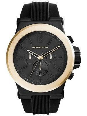 Michael Kors Dylan Chronograph Black Dial Black Silicone Strap MK8383 Men's Watch