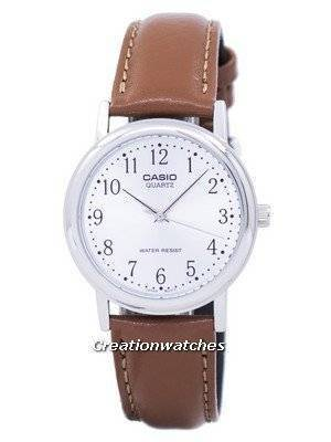 Casio Quartz Silver Dial Brown Leather MTP-1095E-7BDF MTP1095E-7BDF Men's Watch