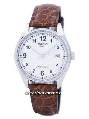 Casio Quartz White Dial Brown Leather Strap MTP-1175E-7BDF MTP1175E-7BDF Men's Watch