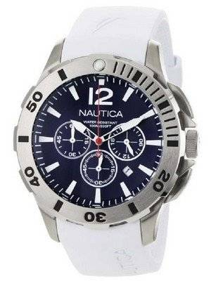 Nautica Chronograph White Resin and Blue Dial N16568G Men's Watch
