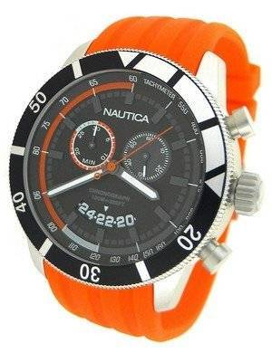 Nautica Chronograph Sporty Orange Resin Band N17586G Men's Watch
