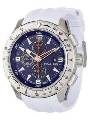 Nautica Chronograph Sporty White Resin Band N17593G Men's Watch