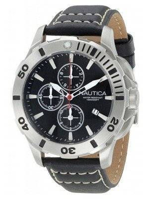 Nautica Chronograph Black Leather Clasp N18641G