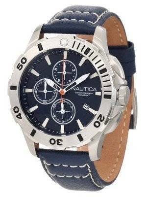Nautica Chronograph Blue Leather Clasp N18642G