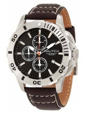 Nautica Chronograph Brown Leather N18643G Men's Watch