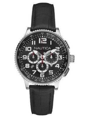 Nautica Chronograph Black Leather N22596M