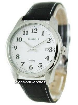 Seiko Leather Strap White Easy Reader Dial SGEG17P1 SGEG17P Mens Watch