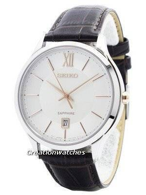 Seiko Quartz Sapphire Glass Silver Dial SGEH55 SGEH55P1 SGEH55P Men's Watch