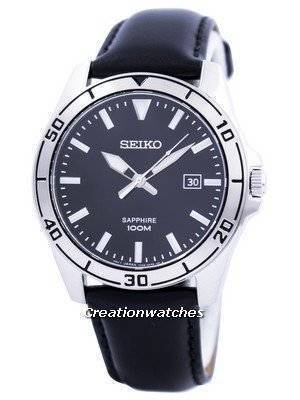 Seiko Quartz Sapphire Glass Black Dial SGEH65 SGEH65P1 SGEH65P Men's Watch