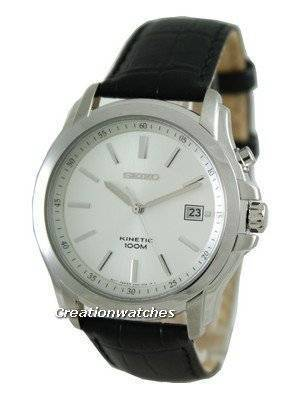 Seiko Kinetic Black Genuine Leather SKA487P2 Mens Watch