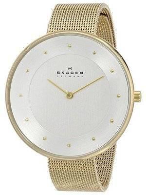 Skagen Silver Dial Gold-Tone Mesh Bracelet SKW2141 Women's Watch