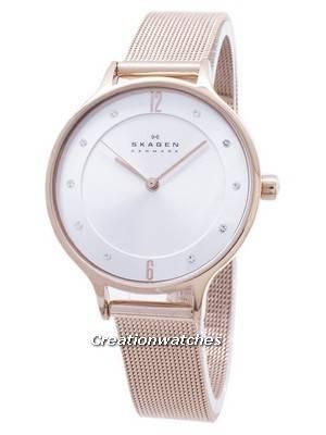 Skagen Anita Silver Dial Crystal Rose Gold-Tone Mesh Bracelet SKW2151 Women's Watch