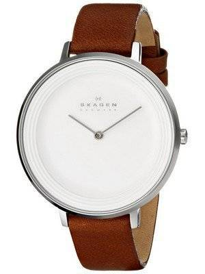 Skagen Ditte Silver Dial Brown Leather SKW2214 Women's Watch