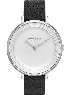 Skagen Ditte Silver Dial Black Leather SKW2261 Women's Watch