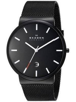 Skagen Ancher Black Dial Black PVD Mesh Bracelet SKW6053 Men's Watch