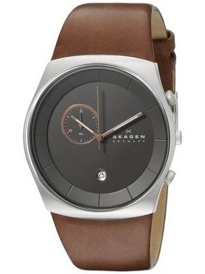 Skagen Havene Chronograph Quartz Leather Strap SKW6085 Men's Watch