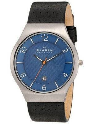 Skagen Grenen Blue Dial Perforated Black Leather SKW6148 Men's Watch