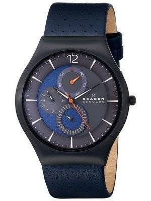 Skagen Grenen Perforated Blue Leather SKW6149 Men's Watch