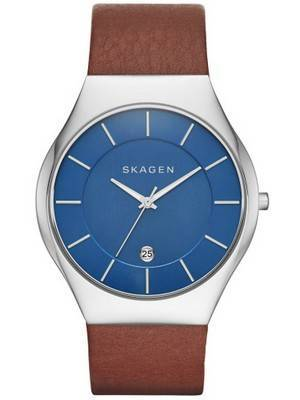 Skagen Grenen Quartz Blue Dial Leather Strap SKW6160 Men's Watch