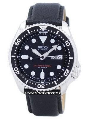 Seiko Automatic Diver's Ratio Black Leather SKX007J1-LS10 200M Men's Watch