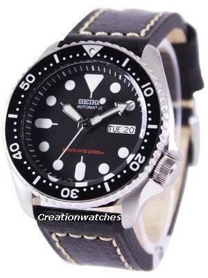 Seiko Automatic Diver's Ratio Black Leather SKX007K1-LS2 200M Men's Watch