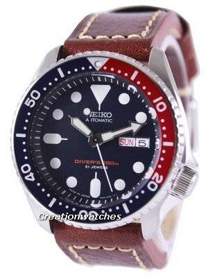 Seiko Automatic Diver's Ratio Brown Leather SKX009J1-LS1 200M Men's Watch