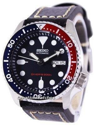 Seiko Automatic Diver's Ratio Black Leather SKX009K1-LS2 200M Men's Watch