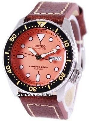 Seiko Automatic Diver's Ratio Brown Leather SKX011J1-LS1 200M Men's Watch