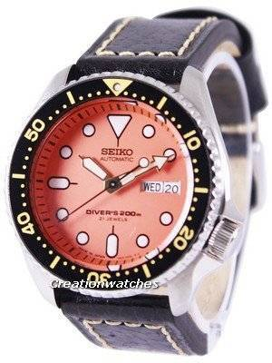 Seiko Automatic Diver's Ratio Black Leather SKX011J1-LS2 200M Men's Watch