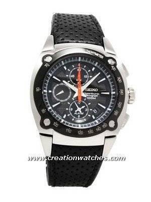 Seiko Sportura Chrono Tachy 100m Leather Watch SNAA95P2