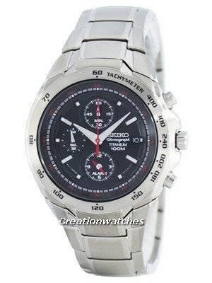 Seiko Titanium Chronograph Quartz Alarm Tachymeter SNAB89 SNAB89P1 SNAB89P Men's Watch