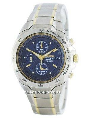 Seiko Titanium Chronograph Quartz Alarm Tachymeter SNAB93 SNAB93P1 SNAB93P Men's Watch