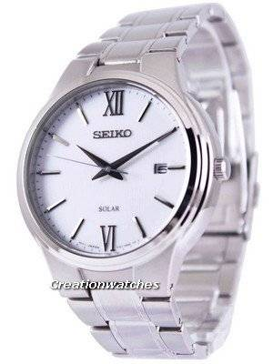 Seiko Solar White Dial SNE385 SNE385P1 SNE385P Men's Watch