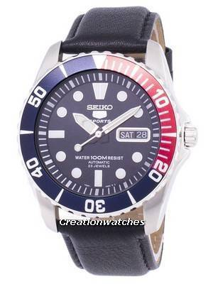 Seiko 5 Sports Automatic Ratio Black Leather SNZF15K1-LS10 Men's Watch