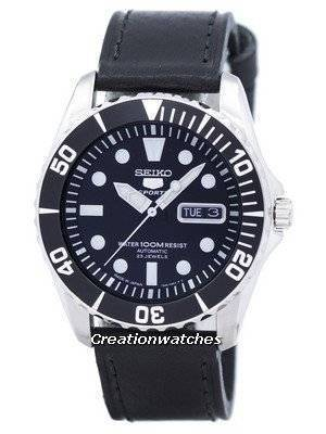 Seiko 5 Sports Automatic 23 Jewels Ratio Black Leather SNZF17J1-LS8 Men's Watch