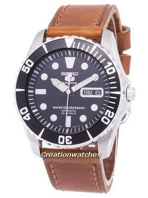 Seiko 5 Sports Automatic Ratio Brown Leather SNZF17K1-LS9 Men's Watch