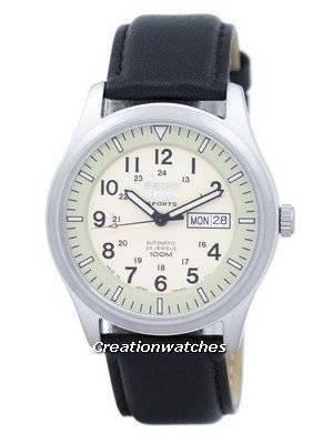 Seiko 5 Sports Military Automatic Japan Made Ratio Black Leather SNZG07J1-LS10 Men's Watch