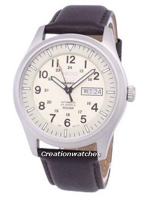 Seiko 5 Sports Automatic Ratio Dark Brown Leather SNZG07K1-LS11 Men's Watch