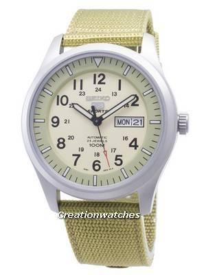 Seiko 5 Sports Automatic SNZG07 SNZG07K1 SNZG07K Military Nylon Strap Men's Watch