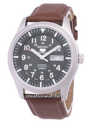 Seiko 5 Sports Automatic Japan Made Ratio Brown Leather SNZG09J1-LS12 Men's Watch