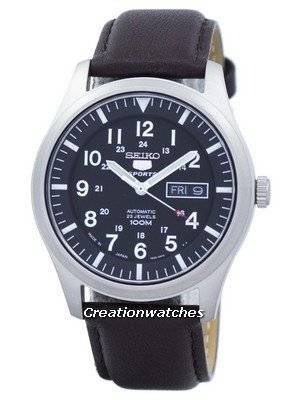 Seiko 5 Sports Automatic Japan Made Ratio Dark Brown Leather SNZG15J1-LS11 Men's Watch
