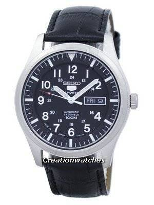 Seiko 5 Sports Automatic Japan Made Ratio Black Leather SNZG15J1-LS6 Men's Watch