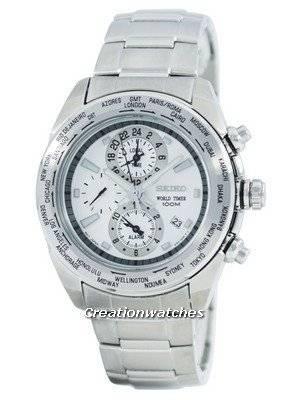 Seiko Premier World Time Alarm Quartz SPL029 SPL029P1 SPL029P Men's Watch