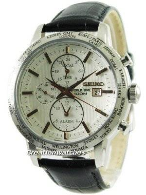 Seiko Alarm Chronograph World Time SPL053 SPL053P1 SPL053P Men's Watch