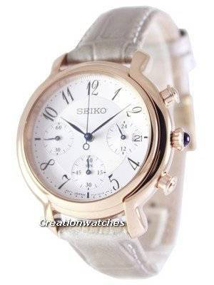 Seiko Quartz Chronograph Calfskin Strap SRW872 SRW872P1 SRW872P Women's Watch
