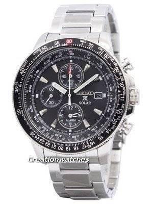 Seiko Pilot's Solar Alarm Chronograph Flightmaster SSC009 SSC009P1 SSC009P Men's Watch