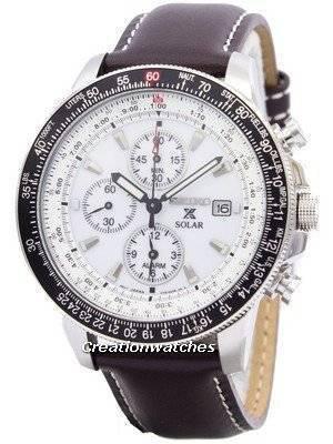 Seiko Pilot's Solar Alarm Chronograph Flightmaster SSC013P1 SSC013 SSC013P Mens Watch