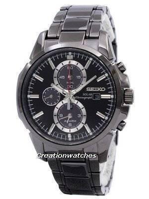 Seiko Solar Chronograph Alarm Black SSC095 SSC095P1 SSC095P Men's Watch