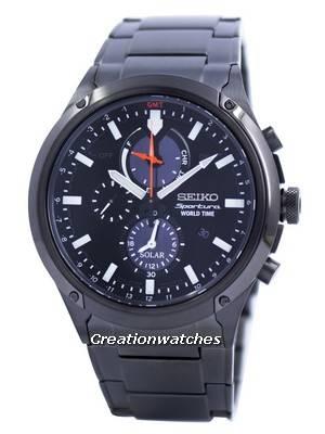 Seiko Sportura World Time Solar Chronograph SSC481 SSC481P1 SSC481P Men's Watch